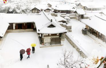 Hanok village under snow